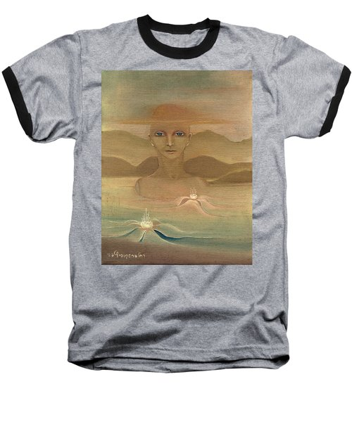 Face From Nature Desert Landscape Abstract Fantasy With Flowers Blue Eyes Yellow Cloud  In Sky  Baseball T-Shirt