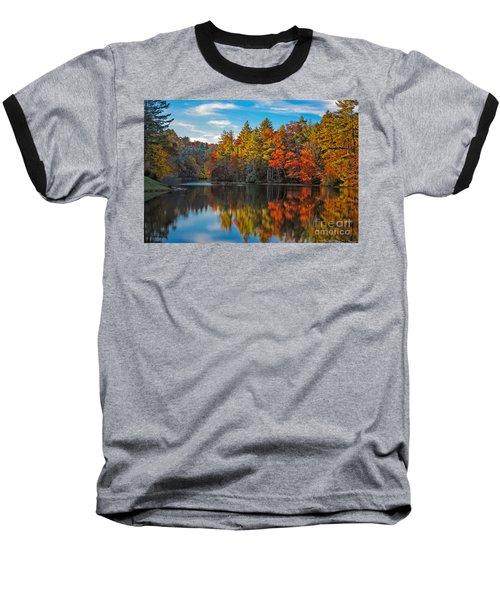 Fall Reflection Baseball T-Shirt by Ronald Lutz