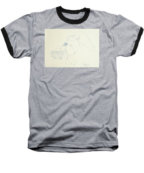 Female Nude In Blue Baseball T-Shirt by Rand Swift