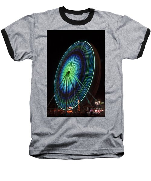 Ferris Wheel Lit Shades Of Green And Blue Baseball T-Shirt