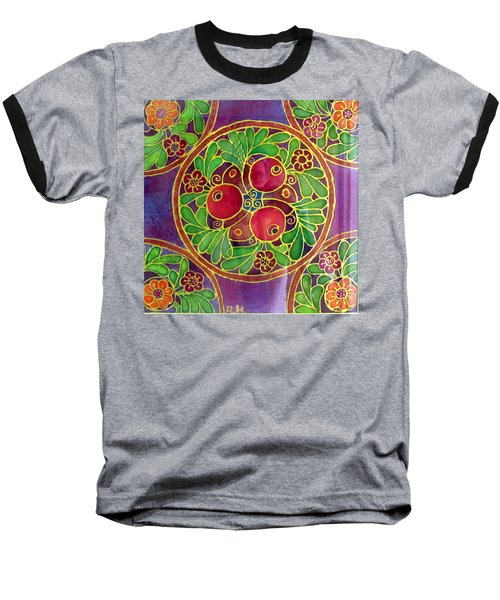 Festive Pomegranates In Gold And Vivid Colors Wall Decor In Red Green Purple Branch Leaves Flowers Baseball T-Shirt