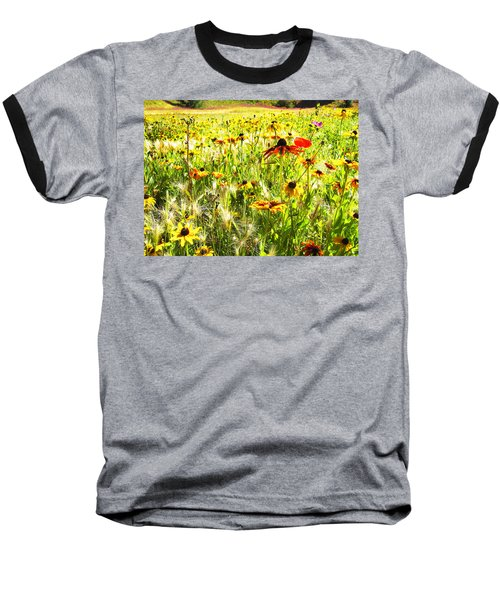 Field Of Bright Colorful Wildflowers Baseball T-Shirt