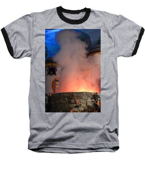 Fiery Entrance Baseball T-Shirt by Bonnie Myszka