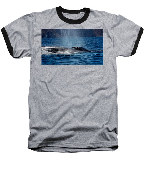 Baseball T-Shirt featuring the photograph Fin Whale Spouting by Don Schwartz
