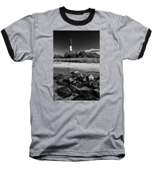Fire Island In Black And White Baseball T-Shirt