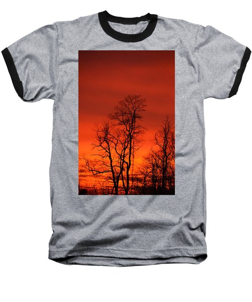 Fire Sky Baseball T-Shirt by Bonnie Myszka