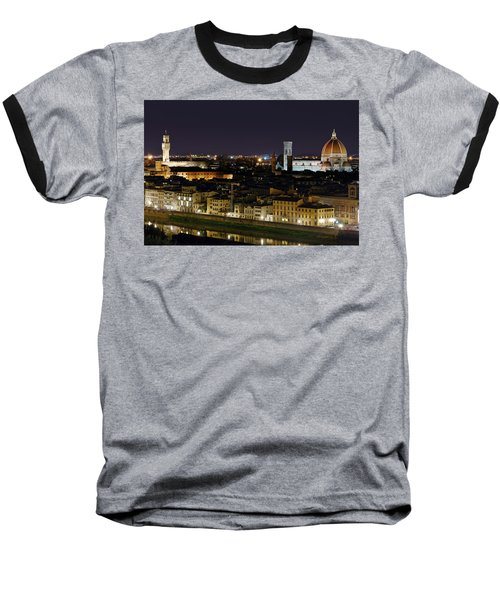 Firenze Skyline At Night - Duomo And Surroundings Baseball T-Shirt