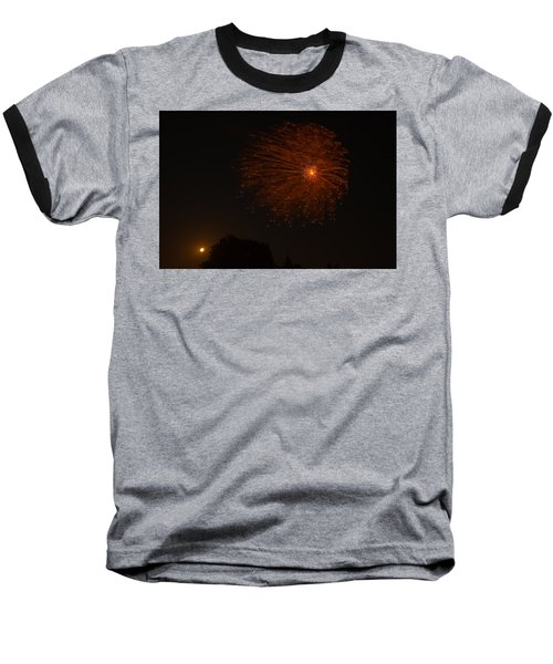 Baseball T-Shirt featuring the photograph Fireworks And Wildfire Moon by Tom Gort