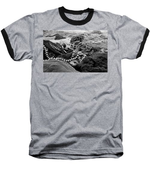 Baseball T-Shirt featuring the photograph Fisherman Sleeping On A Huge Array Of Nets by Tom Wurl