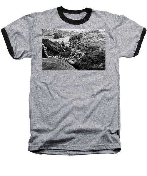 Fisherman Sleeping On A Huge Array Of Nets Baseball T-Shirt by Tom Wurl