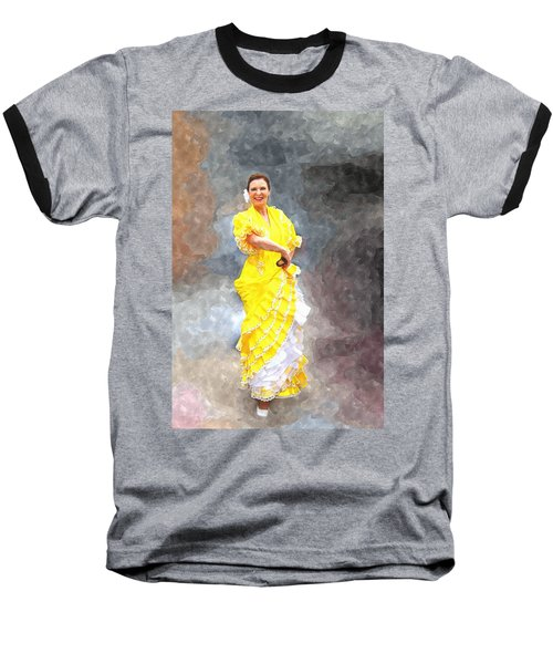Baseball T-Shirt featuring the photograph Flamenco Dancer In Yellow by Davandra Cribbie
