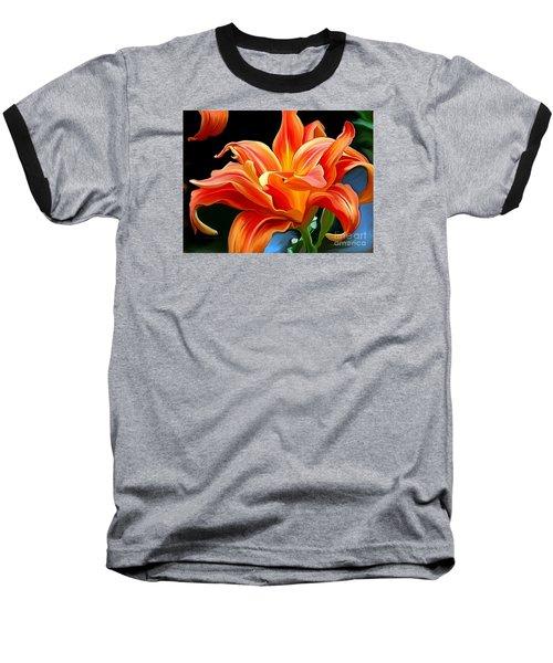 Flaming Flower Baseball T-Shirt by Patricia Griffin Brett