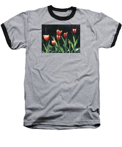 Flared Red Yellow Tulips Baseball T-Shirt