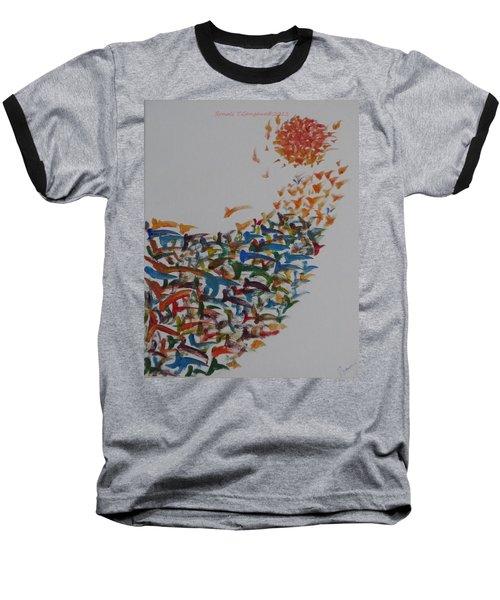 Baseball T-Shirt featuring the painting Fleet Of Birds by Sonali Gangane