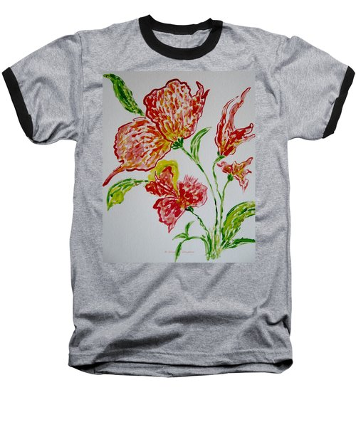 Baseball T-Shirt featuring the painting Florals by Sonali Gangane