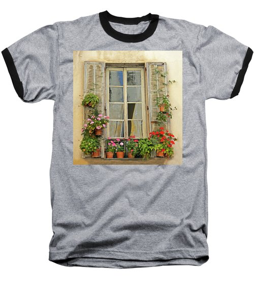 Baseball T-Shirt featuring the photograph Flower Window Provence France by Dave Mills
