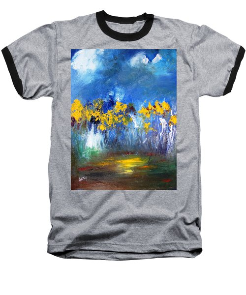 Flowers Of Maze In Blue Baseball T-Shirt by Gary Smith