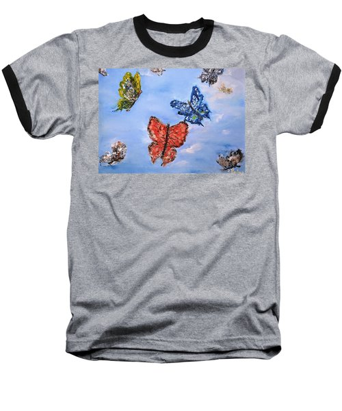 Baseball T-Shirt featuring the painting Flying by Evelina Popilian