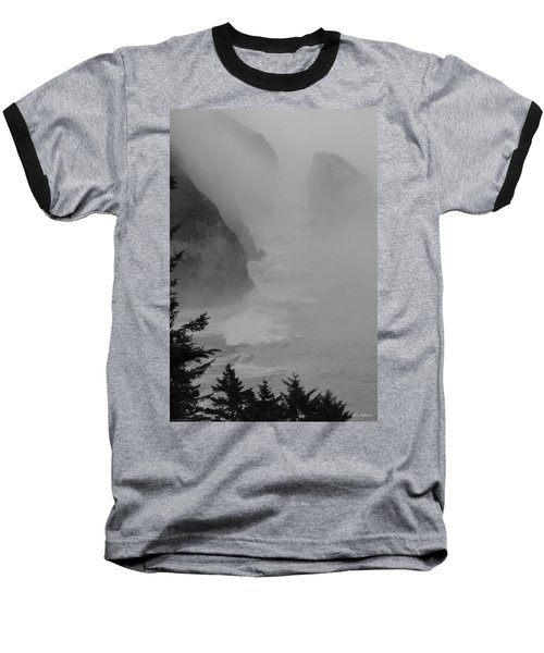 Fog And Cliffs Of The Oregon Coast Baseball T-Shirt by Mick Anderson