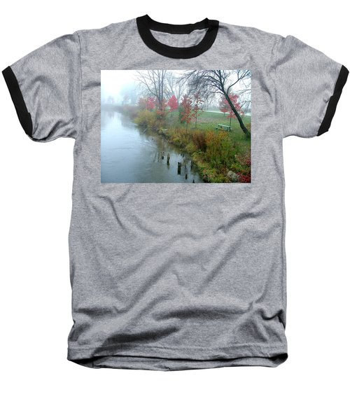 Fog On The Muskegon River Baseball T-Shirt