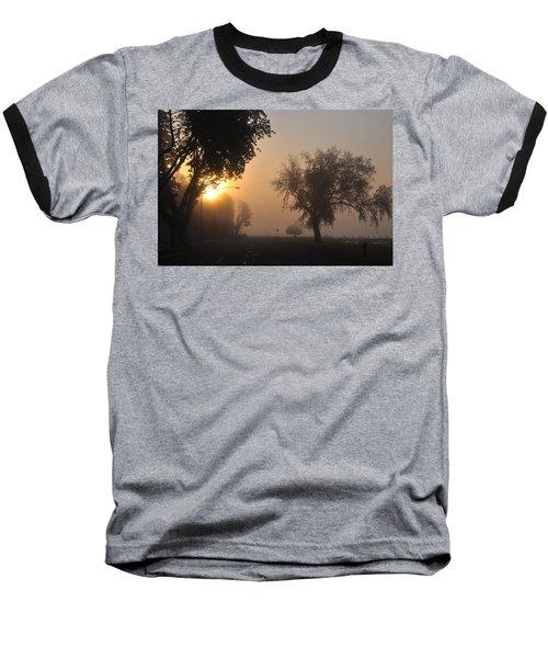 Foggy Morn Street Baseball T-Shirt