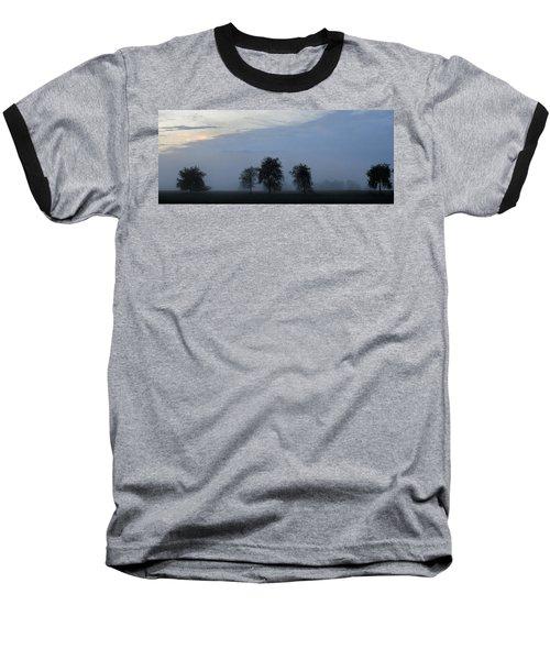 Foggy Pennsylvania Treeline Baseball T-Shirt