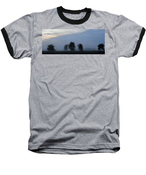 Foggy Pennsylvania Treeline Baseball T-Shirt