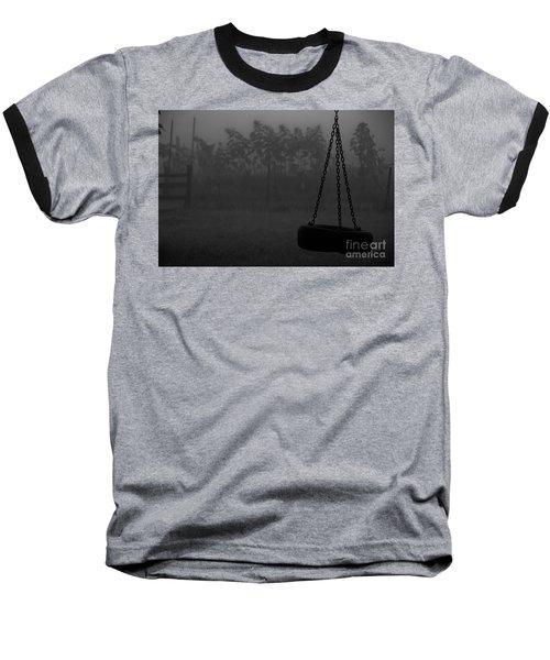 Foggy Playground Baseball T-Shirt by Cheryl Baxter