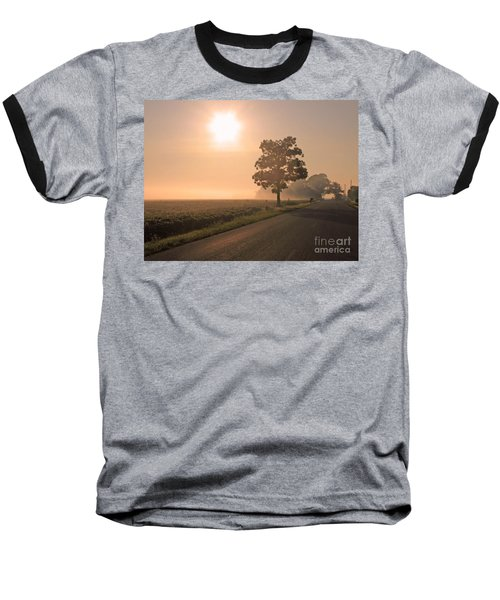 Foggy Sunrise On Soybean Field Baseball T-Shirt