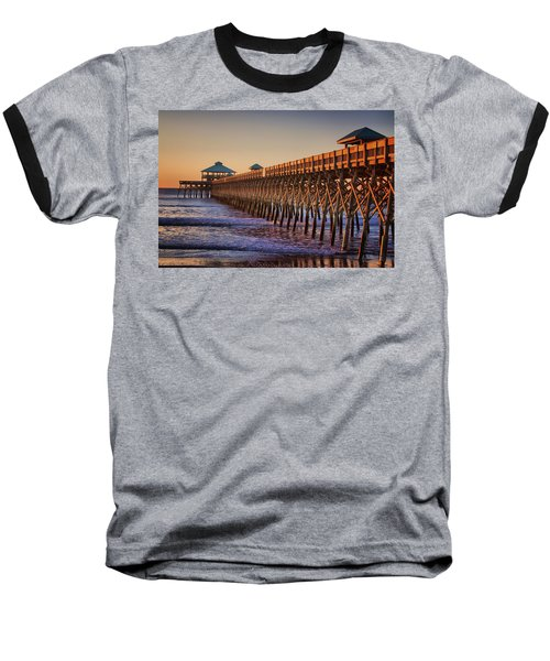 Folly Beach Pier Baseball T-Shirt