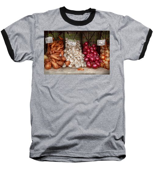 Food - Vegetable - Sweet Potatoes-garlic- And Onions - Yum  Baseball T-Shirt by Mike Savad