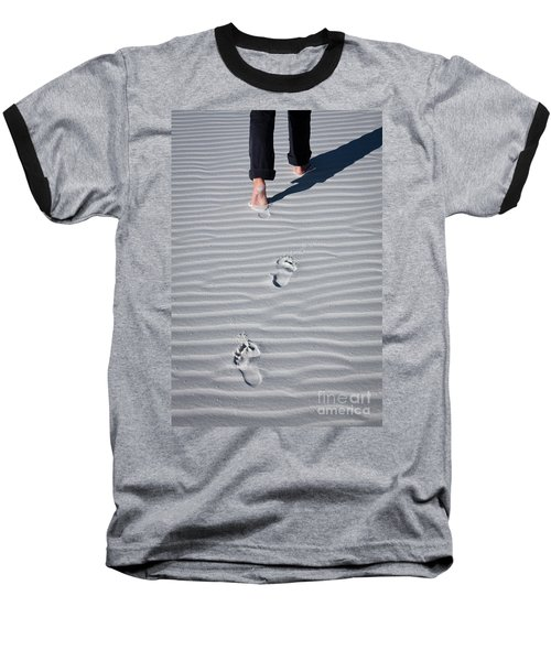 Footprint On White Sand Baseball T-Shirt