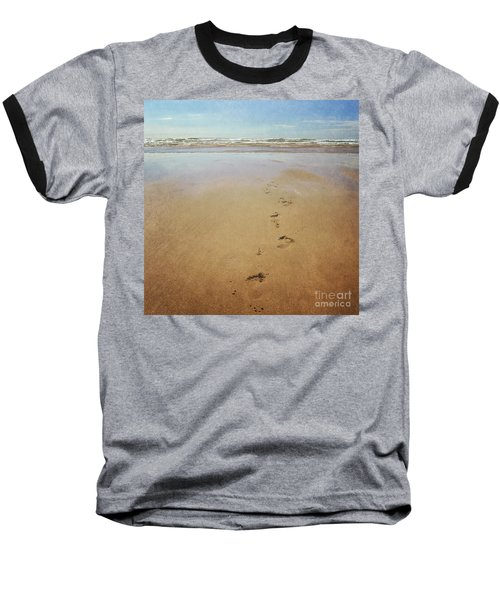 Footprints In The Sand Baseball T-Shirt by Lyn Randle
