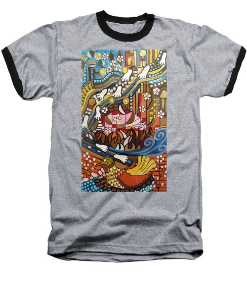 Footsteps To Peace Colorful Abstract Symbolism With Urban Cityscape Path Tracks Bird Dove Baseball T-Shirt