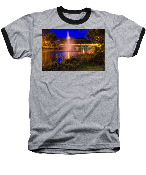 Fountain And Bridge At Night Baseball T-Shirt