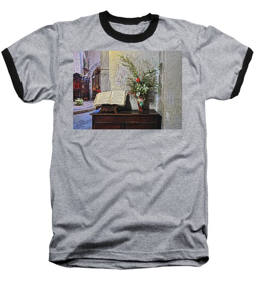 Baseball T-Shirt featuring the photograph French Church Decorations by Dave Mills