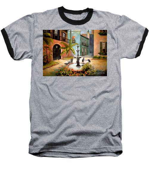 French Quarter Fountain Baseball T-Shirt