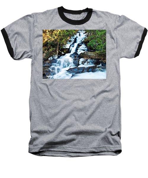 Baseball T-Shirt featuring the photograph Frozen Waterfall by Susan Leggett