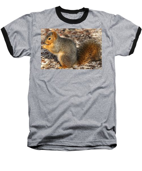 Baseball T-Shirt featuring the photograph Fruity Squirel by Elizabeth Winter