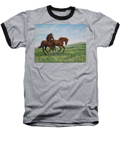 Baseball T-Shirt featuring the painting Galloping Horses by Penny Birch-Williams