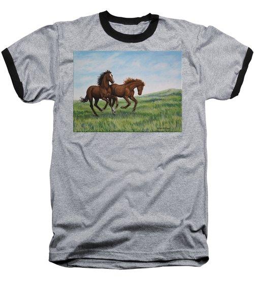 Galloping Horses Baseball T-Shirt