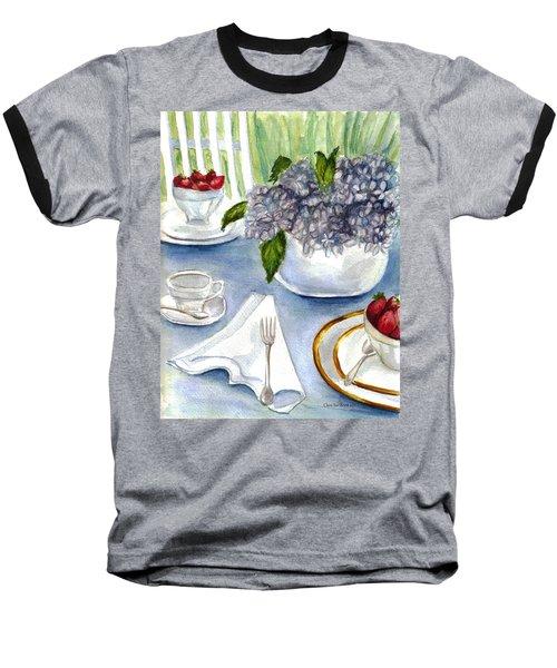 Baseball T-Shirt featuring the painting Garden Tea Party by Clara Sue Beym