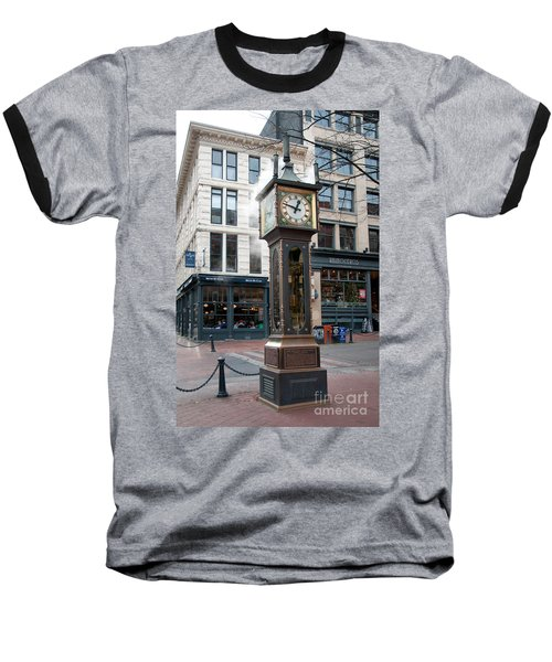 Gastown Steam Clock Baseball T-Shirt by Carol Ailles