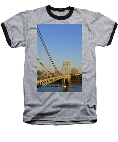 George Washington Bridge And Boat Baseball T-Shirt by Zawhaus Photography