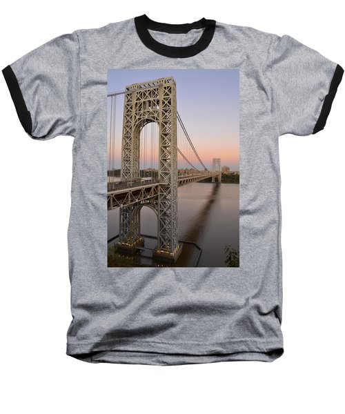 George Washington Bridge At Sunset Baseball T-Shirt by Zawhaus Photography