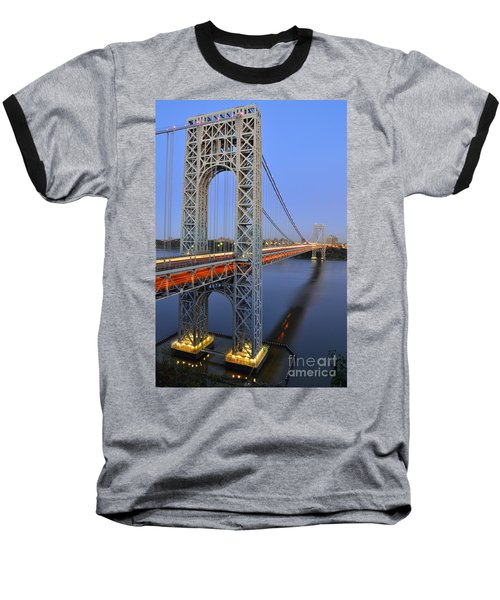 George Washington Bridge At Twilight Baseball T-Shirt by Zawhaus Photography