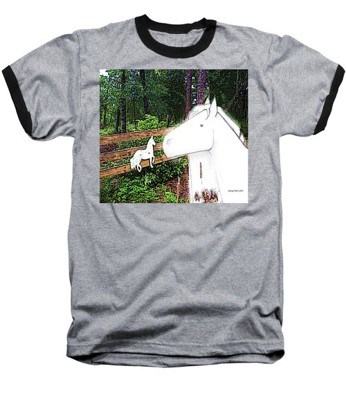 Baseball T-Shirt featuring the drawing Ghost Horse by George Pedro