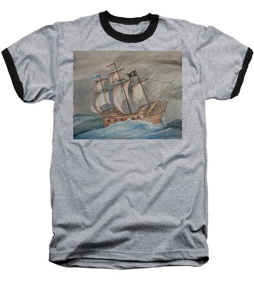 Ghost Pirate Ship Baseball T-Shirt