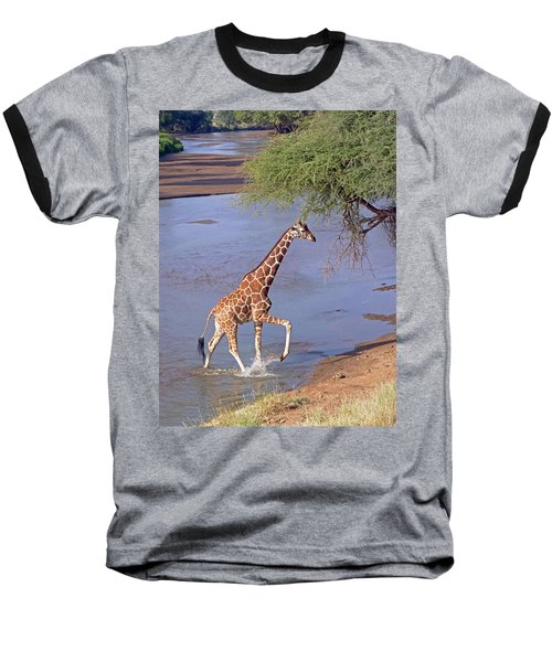Giraffe Crossing Stream Baseball T-Shirt
