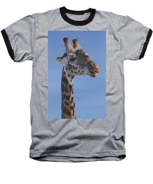Giraffe Headshot Baseball T-Shirt by Tom Wurl